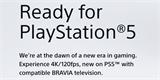 """Televizory Sony podporující režim 4K/120p ponesou označení """"Ready for PlayStation5"""""""